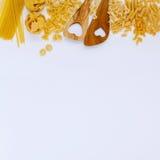 意大利食物概念和菜单设计 各种各样的种类面团 免版税图库摄影