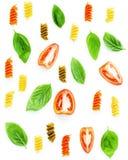 意大利食物概念Fusilli面团用蕃茄切的和甜点 免版税图库摄影