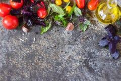 意大利食物背景,用不同的蕃茄、蓬蒿、橄榄油、大蒜和木匙子 库存照片