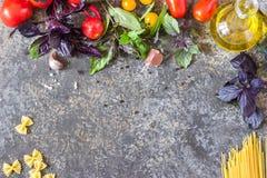 意大利食物背景,用不同的蕃茄、蓬蒿、橄榄油、大蒜和木匙子 图库摄影