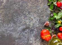 意大利食物背景,用不同的蕃茄,蓬蒿,橄榄油,大蒜 库存照片