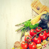 意大利食物背景 库存照片