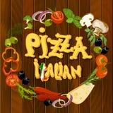 意大利食物背景 库存例证