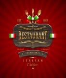 意大利餐馆的葡萄酒木标志 免版税库存照片