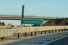 意大利高速公路绿色标志 免版税库存照片