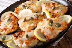 意大利鸡piccata用调味汁、柠檬和雀跃特写镜头 H 免版税图库摄影