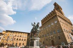 意大利,佛罗伦萨, 2013年7月19日:海王星著名喷泉在广场della Signoria的在佛罗伦萨,意大利 图库摄影