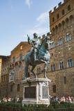 意大利,佛罗伦萨, 2013年7月19日:海王星著名喷泉在广场della Signoria的在佛罗伦萨,意大利 免版税库存图片
