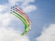 意大利,佛罗伦萨, Frecce Tricolori军事飞机 图库摄影