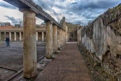 意大利,庞贝城, 02,01,2018庭院Stabian浴(期限 免版税图库摄影