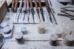 意大利,托斯卡纳,沃尔泰拉,雪花石膏手工 库存照片