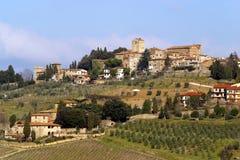 意大利,托斯卡纳, Chianti区域, Panzano在CHianti村庄 免版税库存图片