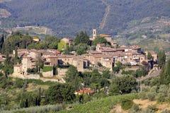 意大利,托斯卡纳, Montefioralle村庄 库存照片
