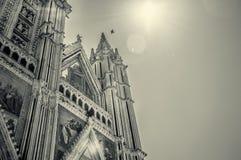意大利,翁布里亚,奥尔维耶托大教堂(中央寺院) sephia 免版税库存照片