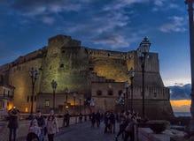 意大利,那不勒斯, 02,01,2018Castel dell'Ovo,海边城堡 图库摄影