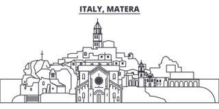 意大利,马泰拉线地平线传染媒介例证 与著名地标的意大利,马泰拉线性都市风景,城市视域 库存例证