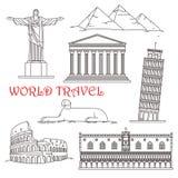 意大利,巴西,希腊,非洲的旅行地标 库存图片