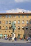 意大利 佛罗伦萨 Cosimo骑马雕象我de 'Medici,托斯卡纳俄国沙皇时代的太子 免版税库存照片