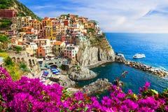 意大利系列- Manarola村庄, Cinque terre的颜色 库存照片