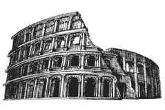 意大利 在白色背景的罗马斗兽场 草图 免版税库存图片