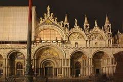 意大利 威尼斯 圣马克的大教堂在晚上 免版税库存图片