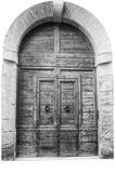 意大利建筑学细节 老中世纪样式前门 图库摄影