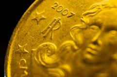 意大利10cent欧洲硬币细节 免版税库存图片