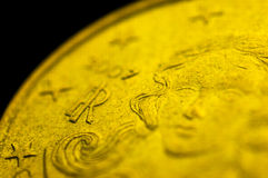 意大利10cent欧洲硬币细节 免版税图库摄影