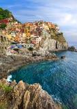 意大利- Manarola村庄, Cinque terre美好的地方  免版税库存图片