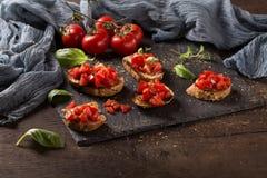 意大利bruschetta,开胃菜 库存照片