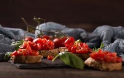 意大利bruschetta,开胃菜 免版税库存照片