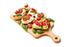 意大利bruschette,传统开胃菜 免版税图库摄影