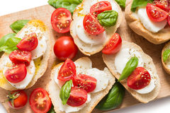 意大利bruschette,传统开胃菜 免版税库存图片