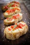 意大利bruschette,传统开胃菜 库存照片