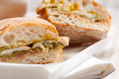 意大利ciabatta panini三明治鸡 免版税库存照片