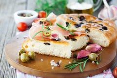 意大利focaccia面包 免版税库存照片