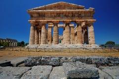 意大利paestum寺庙 免版税图库摄影