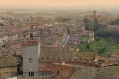 意大利siena托斯卡纳 中世纪镇从上面 免版税库存照片
