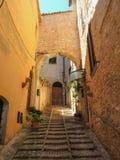 意大利spello 中世纪村庄的宫殿和旅游胜地 免版税库存图片
