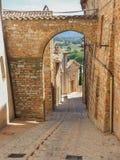 意大利spello 中世纪村庄的宫殿和旅游胜地 库存图片