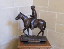意志在马背上罗杰斯铜雕塑, Claremore,俄克拉何马 库存照片