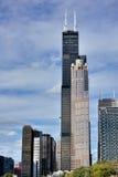 意志芝加哥塔和城市视图  免版税库存图片
