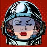 意思号愤怒Emoji面对减速火箭妇女的宇航员 皇族释放例证