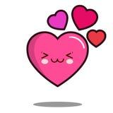 意思号逗人喜爱的爱心脏漫画人物象kawaii平的设计传染媒介 免版税库存照片