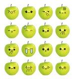 意思号逗人喜爱的面孔-在白色背景的绿色苹果孤立 向量例证