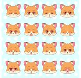 意思号, emoji,面带笑容集合,五颜六色的甜全部赌注一点逗人喜爱的kawaii芳香树脂动画片狐狸, stic小狗女孩另外情感的吉祥人 向量例证
