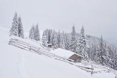 意想不到的冬天风景,导致客舱的步 不可思议的事件在冷淡的天 预期假日 库存照片