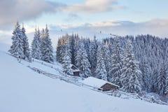 意想不到的冬天风景,导致客舱的步 不可思议的事件在冷淡的天 预期假日 免版税库存图片