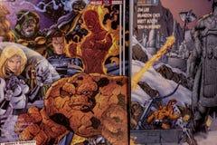 意想不到的四个奇迹漫画超级英雄 库存图片