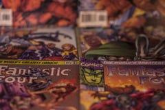 意想不到的四个奇迹漫画超级英雄 免版税库存照片